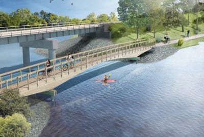 Plummers Point Glulaminated Timber Bridge Visualisation - DC Structures Studio and Edifice